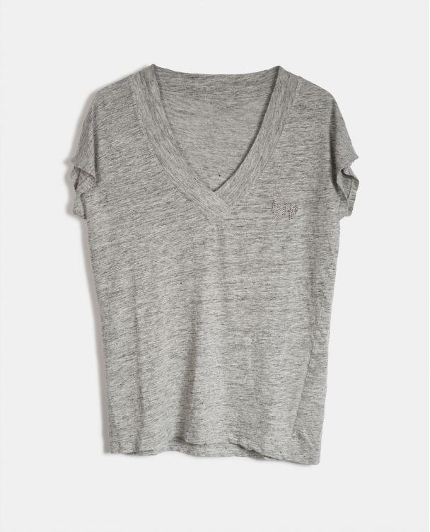 Camiseta Básica con Cuello V